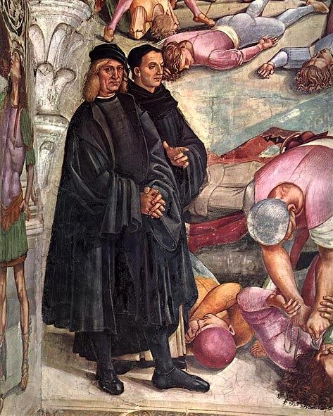 Luca Signorelli, Giudizio Universale (dettaglio con a destra ritratto dell'Angelico), Cappella di San Brizio, 1499-1502, Duomo di Orvieto