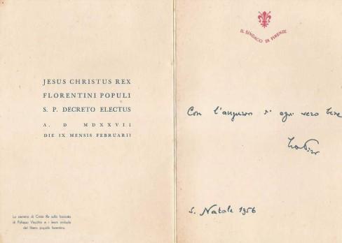 """Natale 1956, Biglietto di auguri del sindaco la Pira con l'effigie della repubblica """"savonaroliana"""" del 1527-30"""