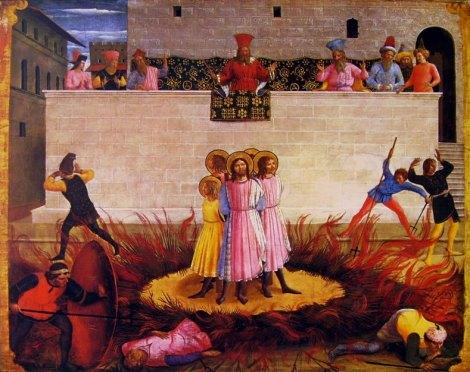 Beato Angelico, Condanna al rogo dei Santi Cosma e Damiano, parte di Predella della Pala di San Marco, National Gallery of Ireland, Dublino
