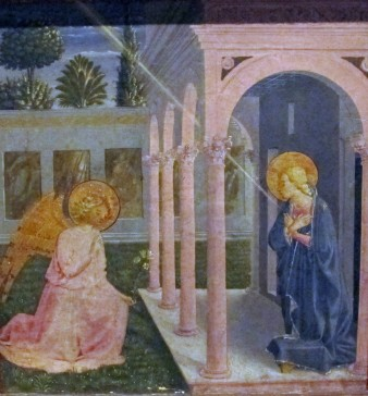 Benozzo Gozzoli, Annunciazione, dalla predella della Madonna della Cintola)