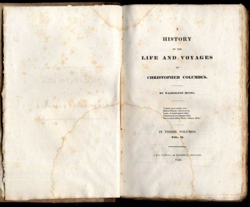 Washington Irvin, History of the Life and Voyages of Christopher Columbus, frontespizio della prima edizione