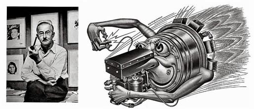 """Boris Artzybasheff e una delle sue """"macchine antropomorfe"""""""