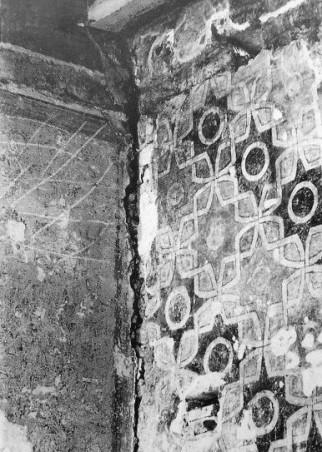 Cerchia del Maestro della Santa Cecilia, particolare della decorazione parietale a finto tendaggio, Palazzo Cerchi, Firenze