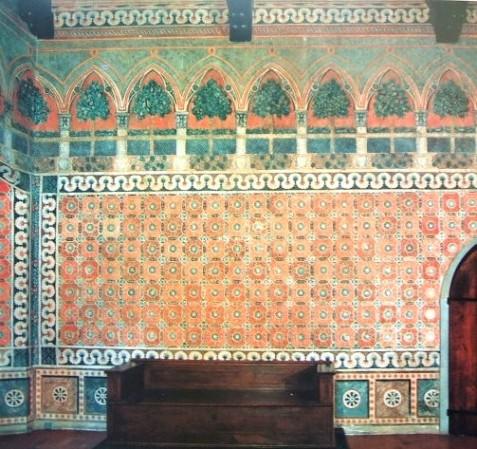 Particolare delle decorazioni parietali restaurate, sala al pianterreno della Villa Lemmi-Tornabuoni, Careggi, Firenze