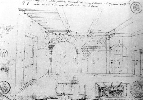 Corinto Corinti, Disegno di una veduta prospettica di un ambiente del primo piano della casa in Via San Miniato tra le Torri