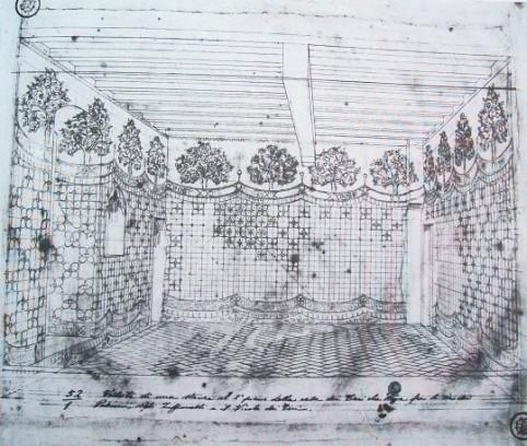 Corinto Corinti, Disegno di una veduta prospettica di un ambiente del secondo piano delle case dei Teri