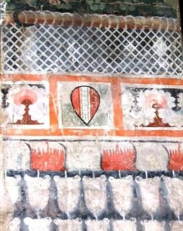 Frammento di decorazione parietale proveniente da una casa dei Pilli, Foresteria, Museo di San Marco, Firenze.