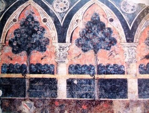 Frammento di decorazione parietale proveniente da una casa dei Lamberti, Palazzo Davanzati, Firenze