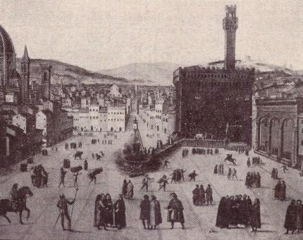 """Il rogo di Savonarola nella piazza del mercato di Firenze nel 1498 (in realtà Piazza della Signoria, ndr). """"Cristo è Re""""."""