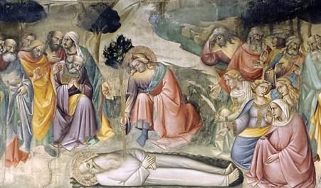 Agnolo Gaddi, Leggenda della Vera Croce (dettaglio: Seth che pianta un ramo dell'albero della vita sulla tomba di Adamo), Basilica di Santa Croce (Firenze)