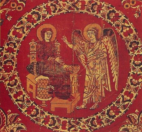 Arazzo egiziano in seta con la scena dell'Annunciazione - (VI sec.) - Vaticano, Museo Sacro, Tesoro del Sancta Sanctorum.