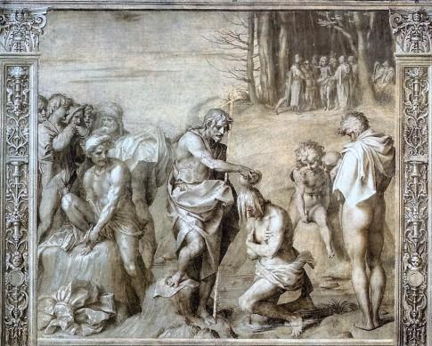 Chiostro dello Scalzo - Andrea del Sarto - Battesimo di Cristo, affresco-1