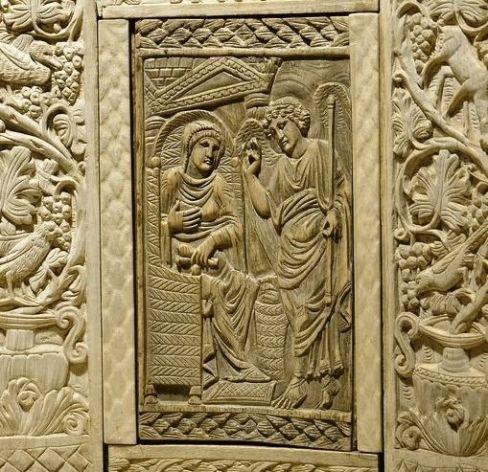 Cattedra dell'arcivescovo Massimiano, part. del pannello con l'Annunciazione (metà del VI sec.) - Ravenna, Museo Diocesano