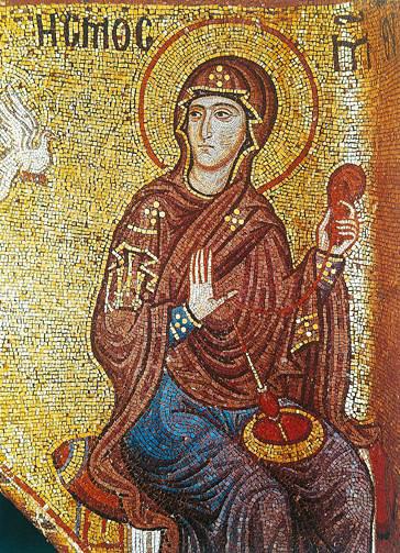 Annunciazione (part.) - (XII sec.) - Santa Maria dell'Ammiraglio, Palermo.