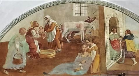 Domenico Manfredi: Lunetta I, La nascita di Francesco; Il pellegrino alla porta