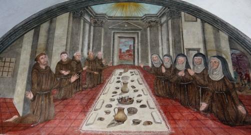 Domenico Manfredi: Lunetta XII, Le poverelle di Chiara mangiano con Francesco ed i suoi compagni