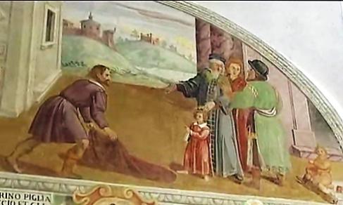 Domenico Manfredi: Lunetta II (dettaglio), Un uomo distende il suo mantello sotto i piedi di Francesco