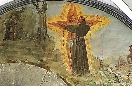 Lunetta XXII (dettaglio): Francesco riceve le stigmate dal Serafino