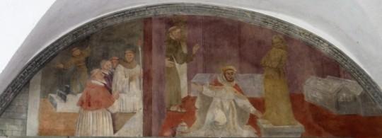 Lunetta XIII: Papa Niccolò visita la tomba di San Francesco