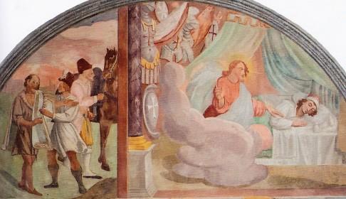 Domenico Manfredi: Lunetta III, Francesco riveste un povero; In sogno Dio appare a Francesco e gli mostra una stanza piena di armature (la visione della chiesa militante)