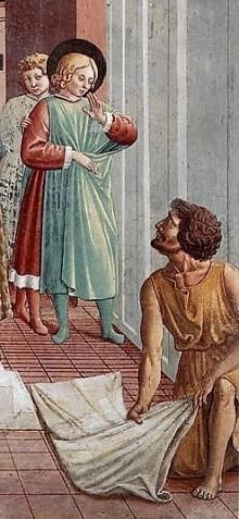 Benozzo Gozzoli: Scena I (dettaglio), Un uomo distende il suo mantello sotto i piedi di Francesco
