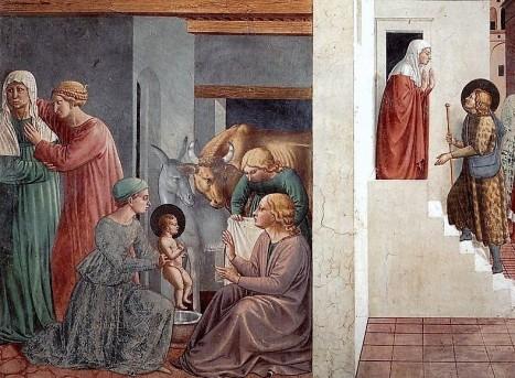 Benozzo Gozzoli: Scena I, La nascita di Francesco; Il pellegrino alla porta