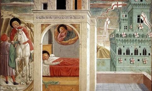 Benozzo Gozzoli: Scena II, Francesco dona il mantello ad un povero; Il sogno di Francesco