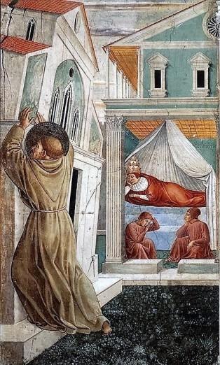 Benozzo Gozzoli: Scena V (dettaglio), Il sogno di papa Innocenzo III