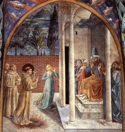 Benozzo Gozzoli: Scena X, Francesco davanti al sultano e la tentazione da parte di una donna