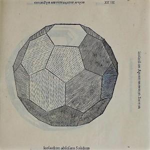Icosaedro troncato solido (da Luca Pacioli e Leonardo da Vinci, De Divina Proportione)