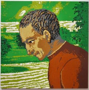 Ai Weiwei: Ritratto di Filippo Strozzi il Vecchio in LEGO, 2016 (da Bottega di Domenico Ghirlandaio, Annuncio ai pastori - dettaglio, Museo Boijmans Van Beuningen, Rotterdam)